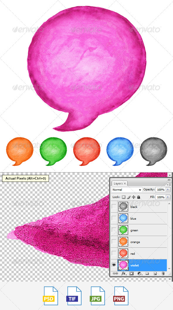 GraphicRiver 6 Speech Bubble Watercolor Circle Shape 3797472