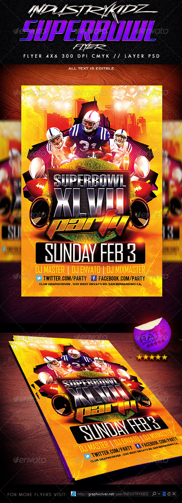 GraphicRiver Superbowl Party Flyer Template 3798207