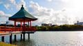 Hexagonal Vermilion Pavilion in Ohori Park - PhotoDune Item for Sale