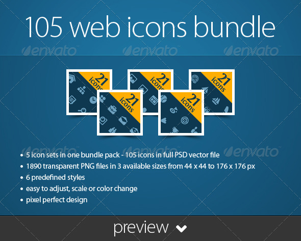 105 Web Icons Bundle - Web Icons