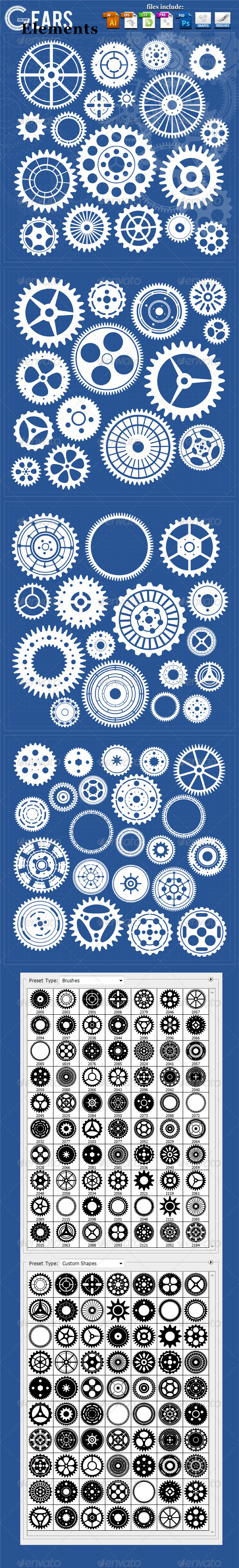 GraphicRiver 70 Gears Elements 3800883