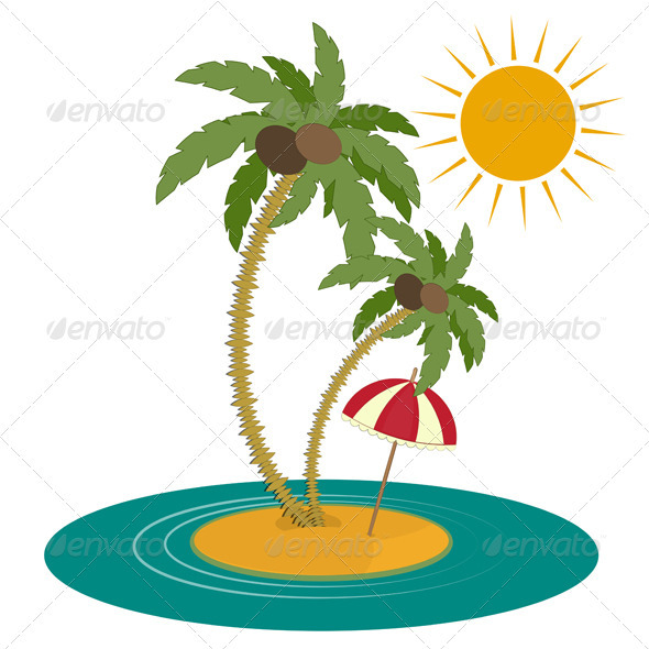 GraphicRiver Palm Trees and Island on White Background 3801972