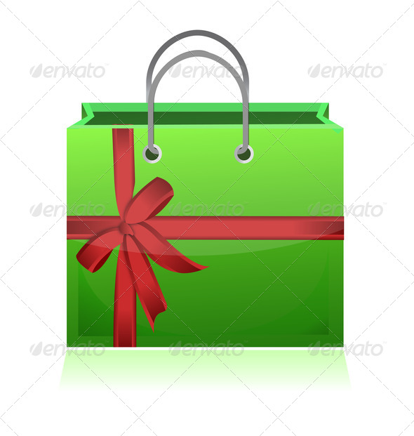 PhotoDune green gift shopping bag illustration design on white background 3814808
