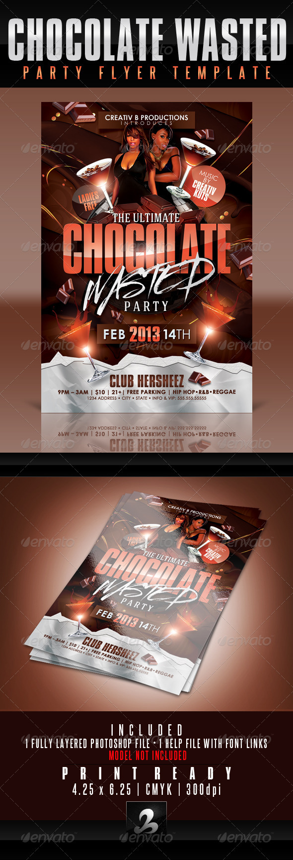 GraphicRiver Chocolate Wasted Party Flyer Template 3802708