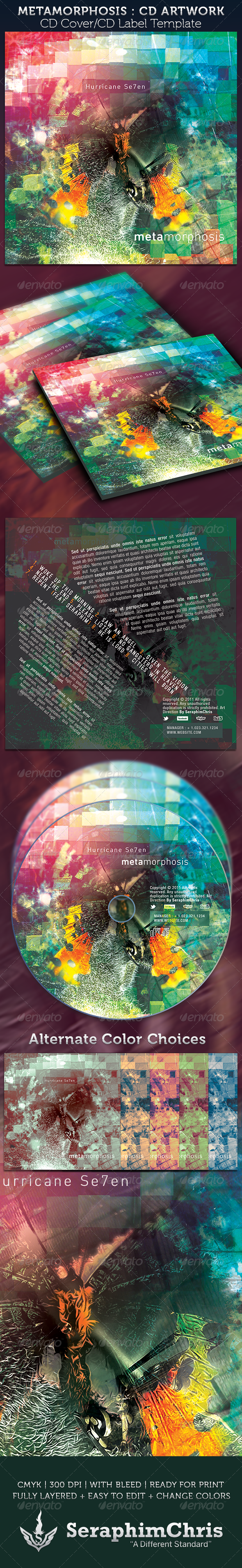 Metamorphosis CD Cover Artwork Template - CD & DVD artwork Print Templates