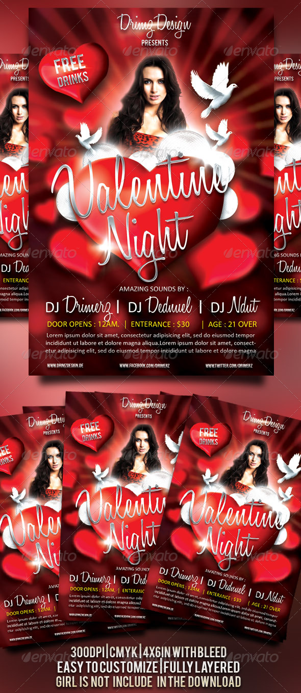 Valentine Night Flyer - Events Flyers