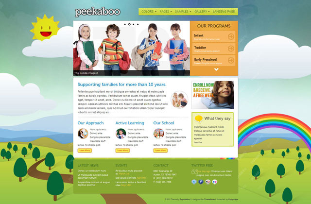 Pekaboo for WordPress - Children Theme Template - Home page - style 1