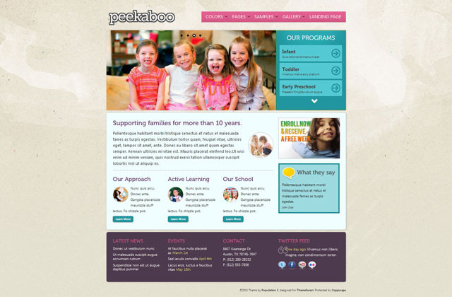 Pekaboo for WordPress - Children Theme Template - Home page - style 3