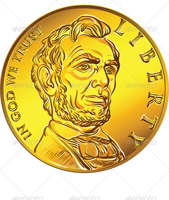 Vector American Money Gold Coin one Dollar - Business Conceptual