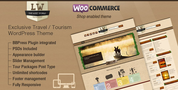 ThemeForest Lost World Travel Hotel Woo Commerce WordPress 3807879