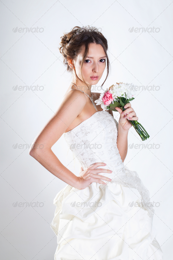 Bride portrait in studio - Stock Photo - Images