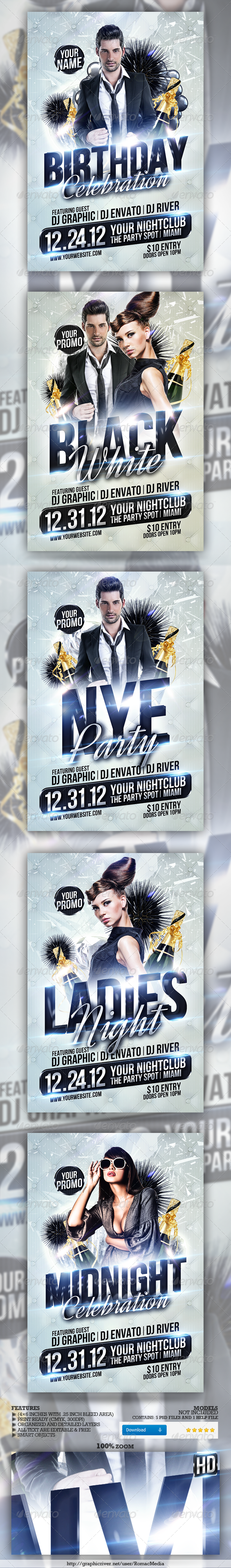 Club Sessions l Multi-Title Party Flyers - Clubs &amp; Parties Events