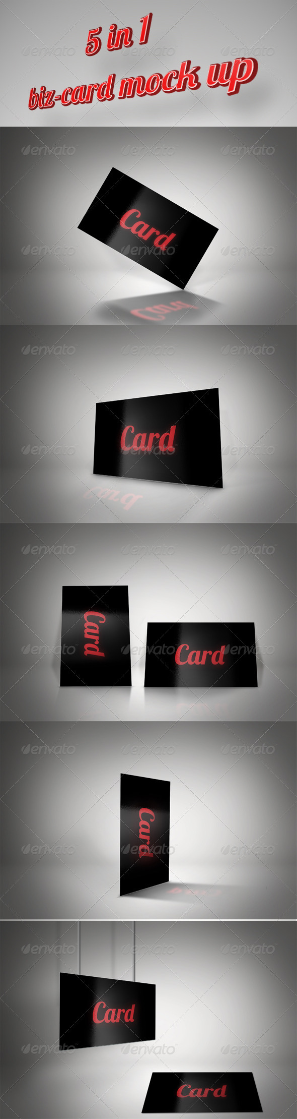 GraphicRiver 5in1 Busniess Card Mock-up 3746021