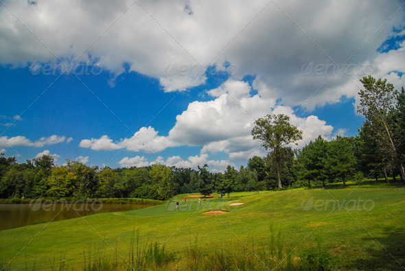golf course landscape - Stock Photo - Images