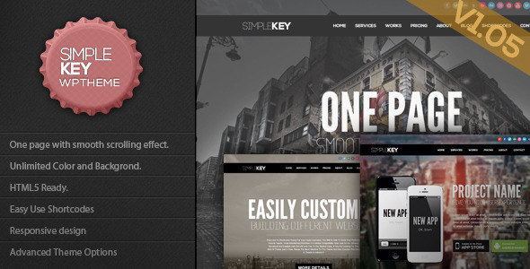 ThemeForest SimpleKey One Page Portfolio WordPress Theme 3729774