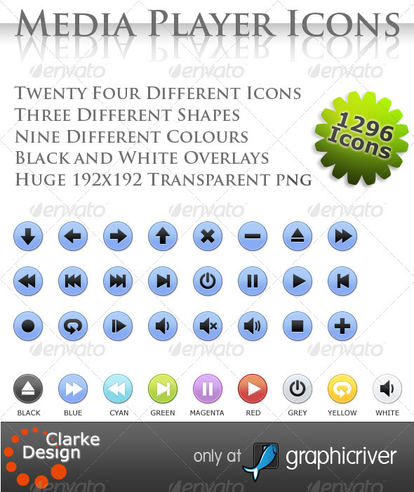 GraphicRiver 24 Media Player Icons 410969