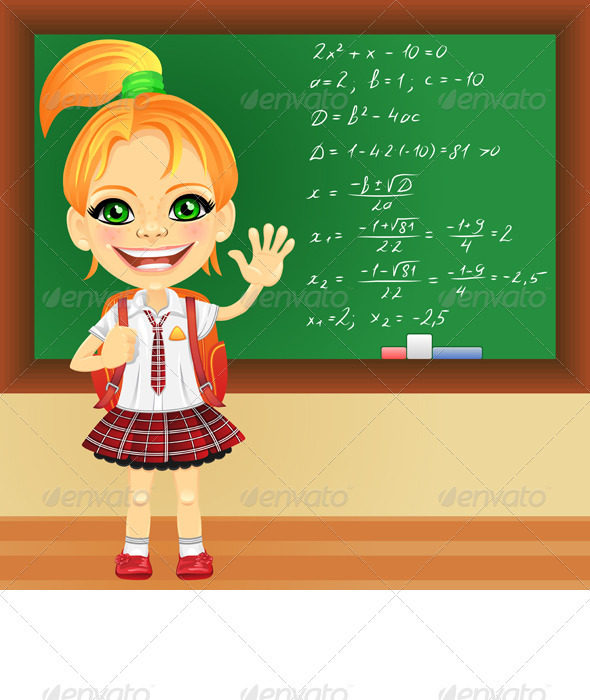 Vector smiling schoolgirl near blackboard - People Characters