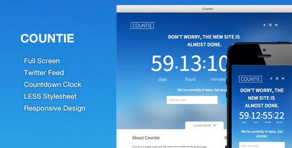 Countie: Fullscreen, Responsive Countdown Landing - Under Construction Specialty Pages