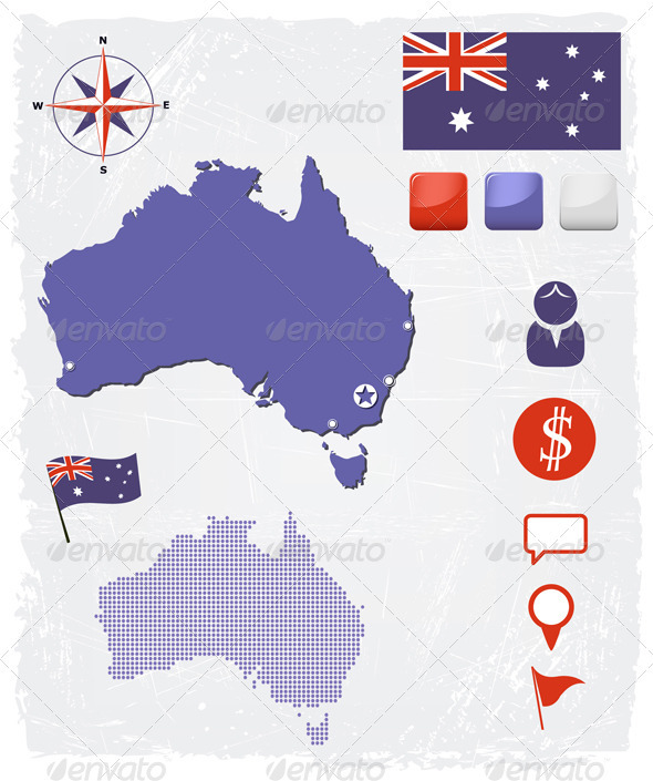 GraphicRiver Australia Map Icons And Buttons Set 3821732