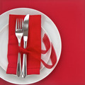 Knife and Fork with red table setting for Valentines Day - PhotoDune Item for Sale