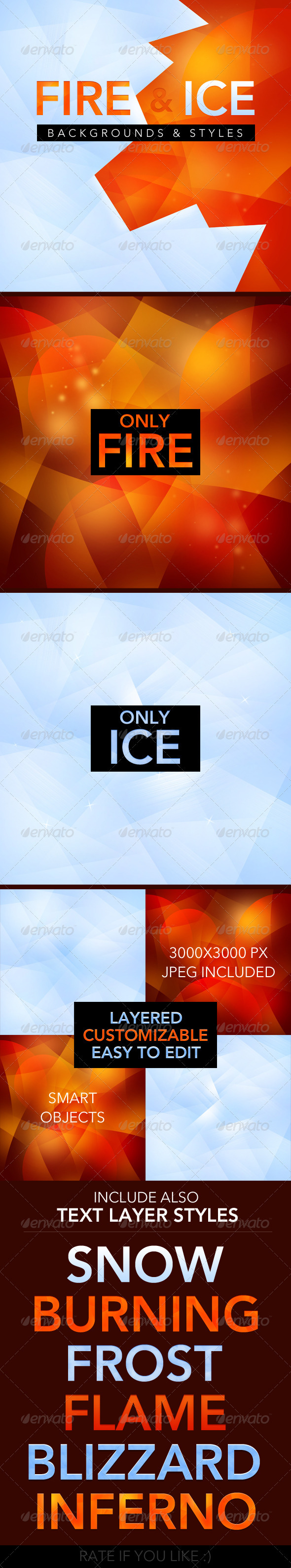 GraphicRiver Fire and Ice backgrounds text styles 3822922