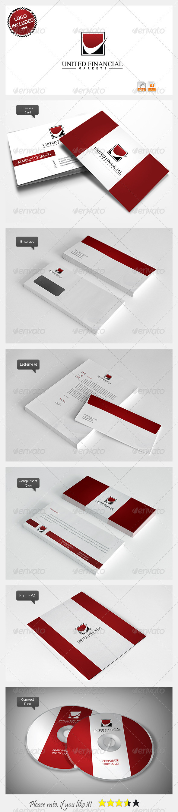 United Financial Logo & Identity - Stationery Print Templates