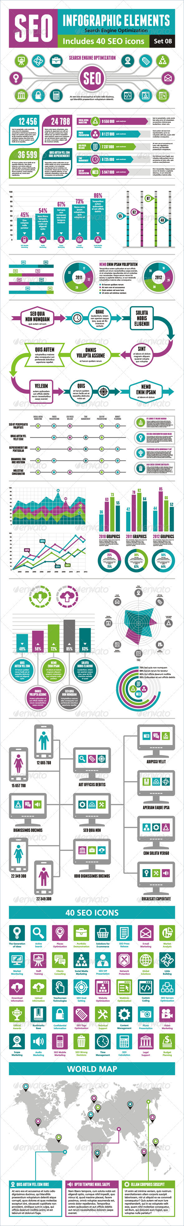 GraphicRiver SEO Infographic Elements Set 08 3823356