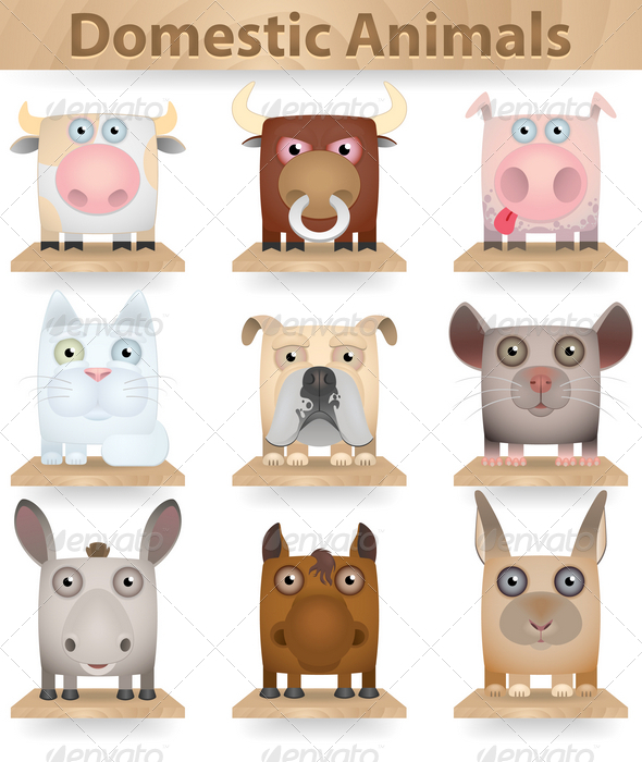 GraphicRiver Domestic Animals Icon Set 3823894