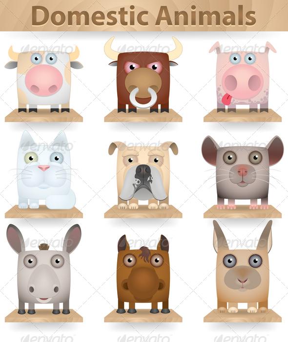 GraphicRiver Domestic Animals Icon Set 3823894