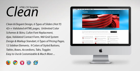 Site Template - ThemeForest Clean HTML CSS Template 162234