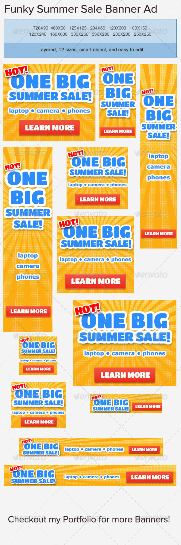 Summer Sale Banner Ad Template - Banners & Ads Web Elements