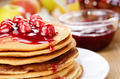 Delicious pancakes with raspberries on the wooden kitchen  tabl - PhotoDune Item for Sale