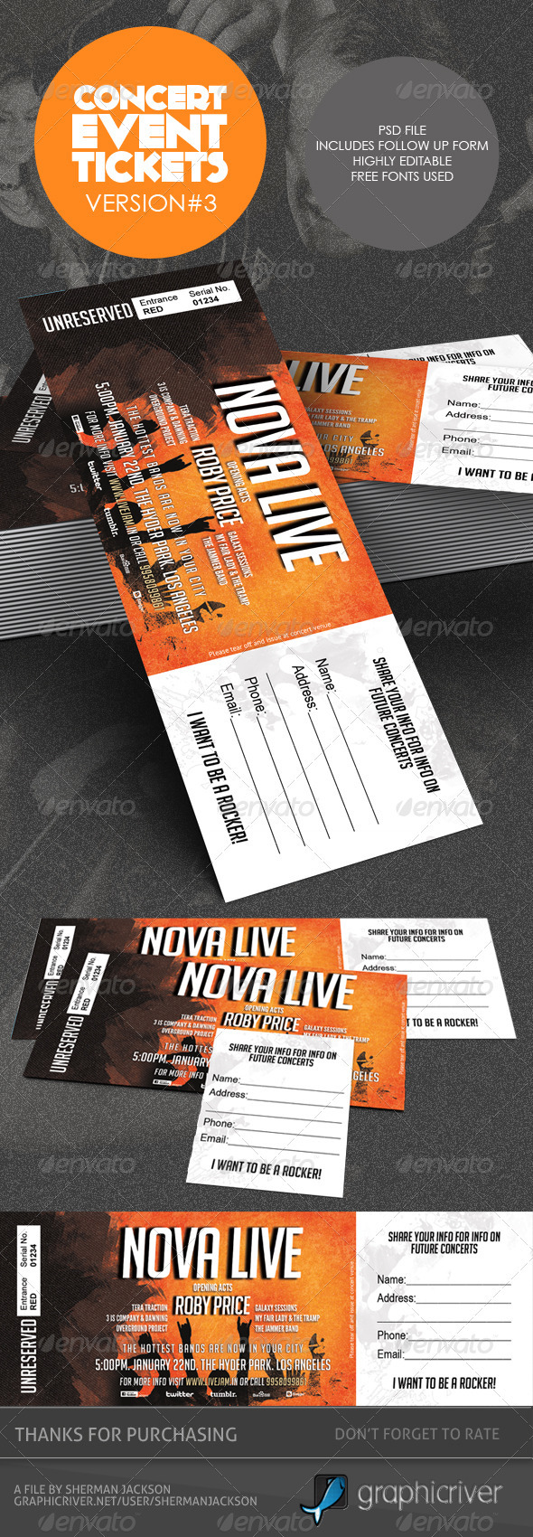 Concert & Event Tickets/Passes - Version 3 - Miscellaneous Print Templates