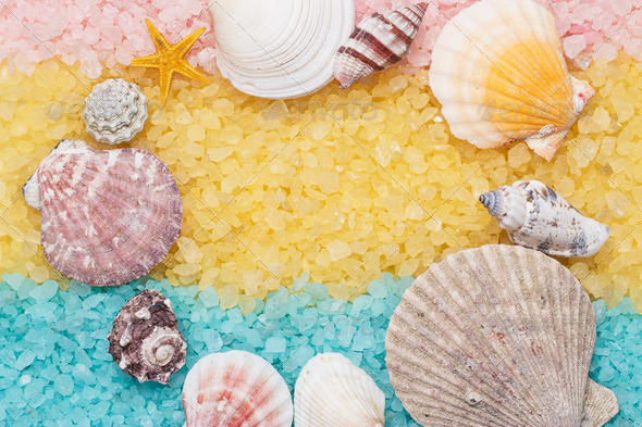 PhotoDune Blue And Yellow Bath Salt And Seashells Background 3826848