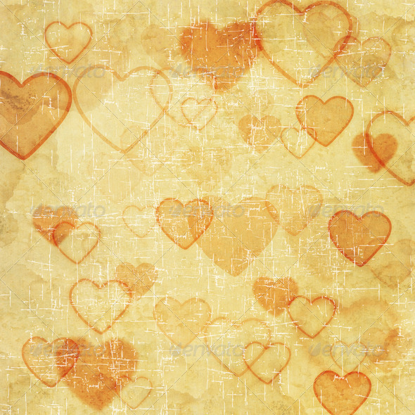 Heart icon on old paper background - Stock Photo - Images