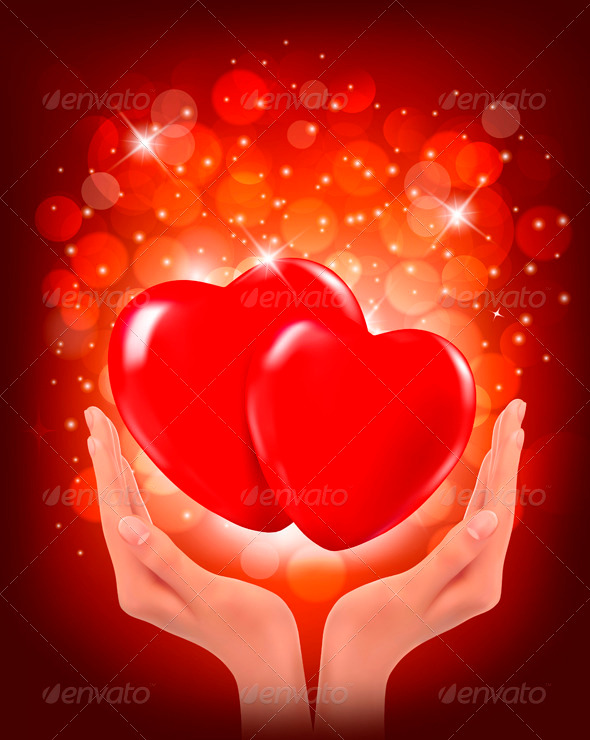 GraphicRiver Valentines Day Background Hands Holding Two Hearts 3827012