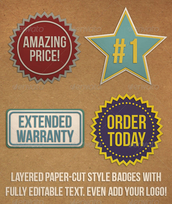 GraphicRiver Paper Cut Badges 3746147