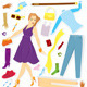 Clothes and Girl Sticker Vector - GraphicRiver Item for Sale