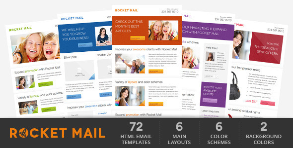 rocket mail clean modern email template by gifky themeforest. Black Bedroom Furniture Sets. Home Design Ideas