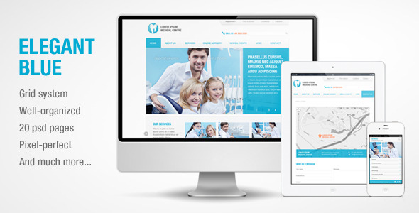 Elegant Blue - Responsive Business PSD template - Corporate PSD Templates
