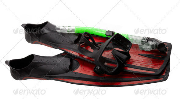 Mask, snorkel and flippers with water drops - Stock Photo - Images