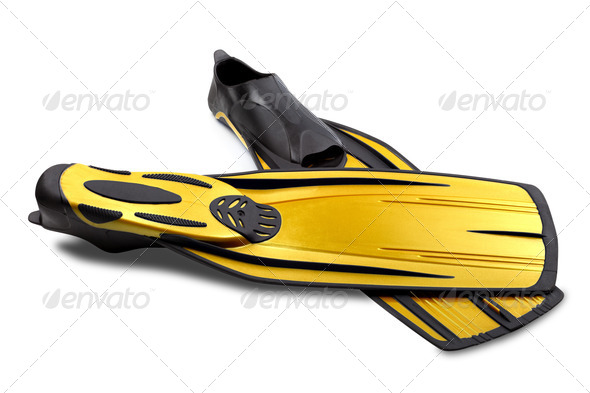 Two flippers for diving - Stock Photo - Images
