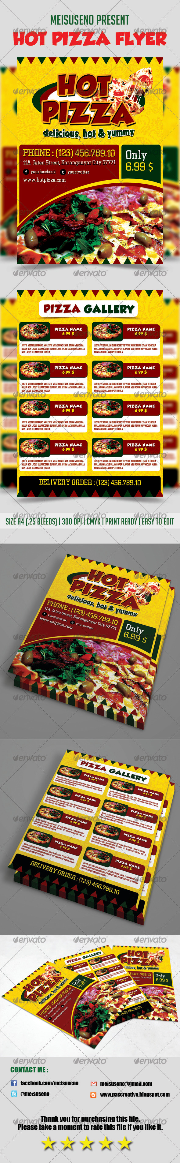 Hot Pizza Flyer Template - Restaurant Flyers