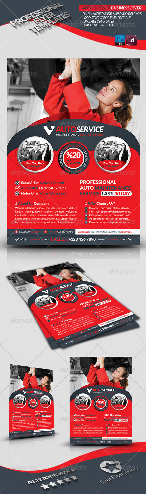 GraphicRiver Automobile Service Business Flyer 3828645