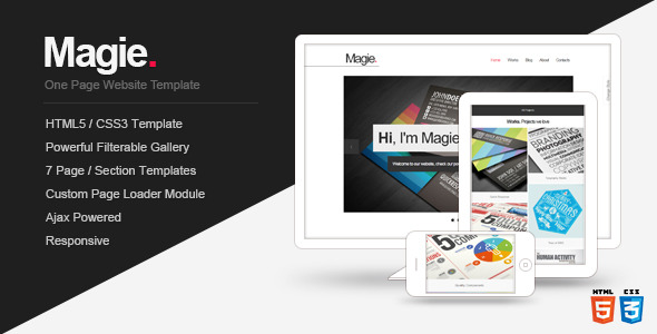 Magie - One Page Website Template - Screenshot 1. Preview image.