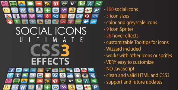 CodeCanyon Social Icons Ultimate CSS3 Effects 3831873