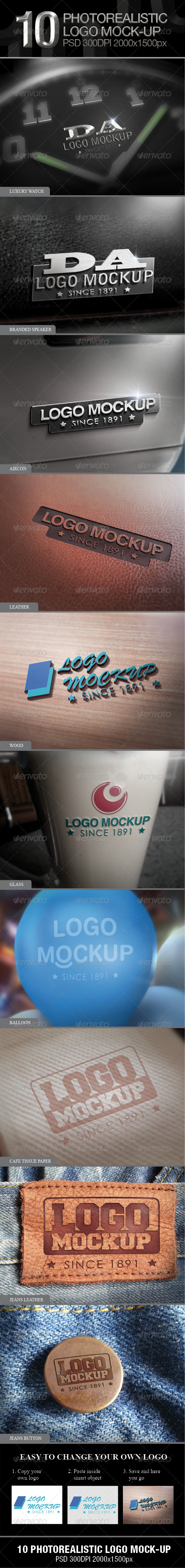 GraphicRiver 10 Photorealistic Logo Mock-up 3832047