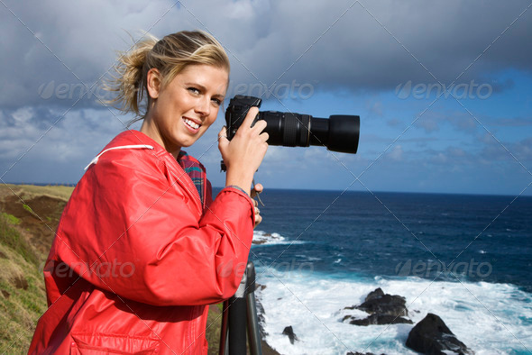 Woman with camera - Stock Photo - Images