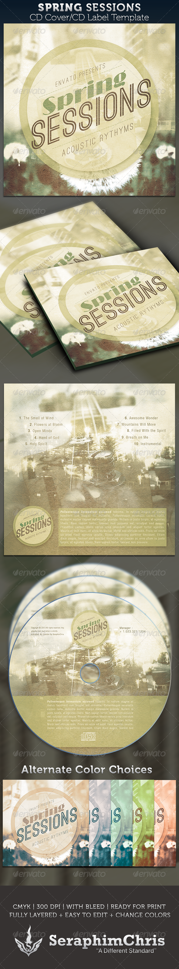 Spring Sessions CD Cover Artwork Template - CD & DVD artwork Print Templates