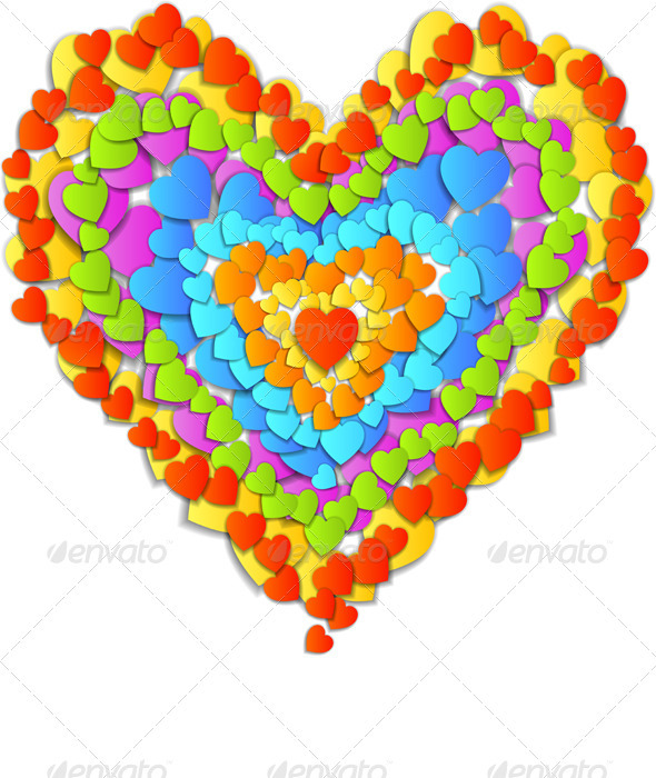 Vector Valentine&#x27;s Day Card with Rainbow Heart - Valentines Seasons/Holidays
